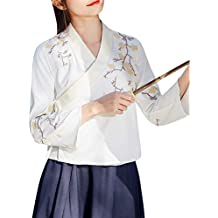 77061e69f Tanming Women's Vintage Casual Chinese Costume Hanfu Cotton Floral Shirts  Tops