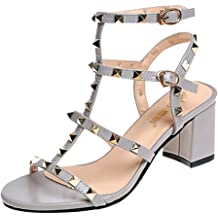 cb754adaf LYN Star✨ Leather Sandals for Women,Rivets Studded Strappy Block Heels  Slingback Gladiator Shoes