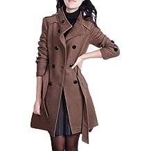 Hunauoo Womens Parka Jackets Winter Casual Slim Buttons Down Overcoat Outwear