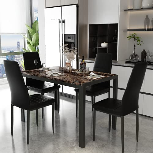 Modern Rectangular Faux Marble Table, Marble Dining Room Table