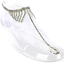 Fashion Jewelry ~ Pair of Rhinestones Toe Ring Anklet MMK83123GD Clear