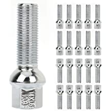 SCITOO Wheel Bolt 14x1.5 20 Pieces Silver Shank Length 24 mm Compatible with Audi Mercedes VW