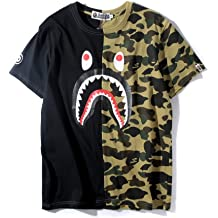 3a6d81583 Big Mouth Shark Ape Bape Camo Casual T Shirt Tees Unisex with Round Neck  Short Sleeve