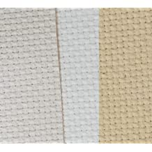 KCS 12 x 18 by 3 Pack 14CT Counted Cotton Aida Cloth Cross Stitch Fabric Natural Antique White+Ecru+Light Straw