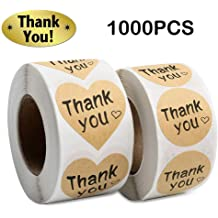 Thank You Stickers Gold Heart Shaped Foil Easy-Pull Adhesive 500 Per Roll