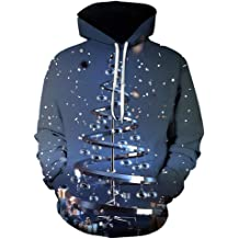 ZhixiaYS 3D Print Hoodies Long Sleeve Pullover with Big Pocket Sweatshirts for Men Women