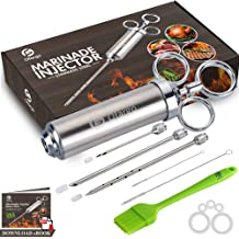 Meat Tenderizer Stainless Needle 2 in 1 Kitchen Tool 3 Injection Needle Pinhole with BBQ Bear Claws for BBQ,Tenderizing,Marinade PATHONOR Meat Injector