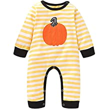 KONFA Toddler Baby Girls Boys Pumpkin Romper Leggings Headband,for 0-24 Months,Kids Halloween Playsuit Outfits Clothing Set