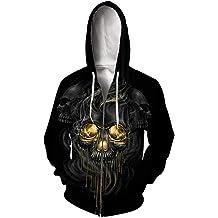Mrsrui 3D Digital Print Full Zip Hoodie,Unisex Long Sleeves Full Zip Sweatshirt Jacket Coat Pockets