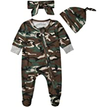 HUHUXXYY Newborn Baby Unisex Long Sleeve Footies Romper Cotton Animal Pajamas