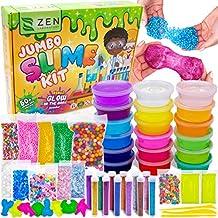 a7327ea59 DIY Slime Kit for Girls Boys - Ultimate Glow in the Dark Glitter Slime  Making Kit - Slime Kits Supplies include Big Foam Beads Balls, 18 .