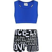 Alvivi Kids Girls Shiny Metallic Criss Cross Back Ballet Dance Tankini Outfit Camisole Tank Top with Booty Short Set