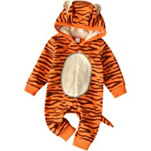 KONFA Toddler Infant Baby Girls Boys Fall Winter Clothes,Cartoon Rabbit Ears Hooded Rompers Zipper Jumpsuit