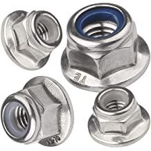 HHY M6x1mm 304 Stainless Steel Serrated Hex Flange Lock Nuts 10 Pcs