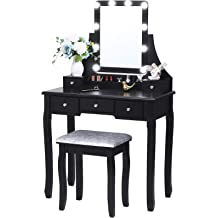 Meilinli White Vanity Table Set with Mirror and Cushioned Stool Drawers Modern Makeup Dressing Table Desk