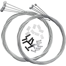 XLX 10PCS 2mm Bicycle Electric Vehicle Brake Cable Gear/Line T Type Chuck Thin Steel Wire Mountain Bike Brake Line Throttle Linkage Cable Crimp Wire and 10pcs Brake Cable Housing Ferrule End Caps