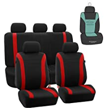 flatcloth Black-Gray, Full Set Fit Most Car,Truck, SUV, or Van with headrest Autonise Universal fit Classic Sport Bucket seat Cover Airbag Compatible
