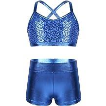 inlzdz Kid Girls 2-Pieces Tankini Sweetheart Crop Top with Booty Shorts Ballet Dancewear Swimwear Bikini