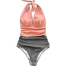 18139a7d95c CUPSHE Women's Stripe Halter One-Piece Swimsuit Keeping You Accompained  Swimwear