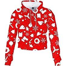RUIVE Girls Christmas Short Sweatshirt Colourful Xmas Santa Claus Print Blouse Sportswear Women/'s Loose Hoodies