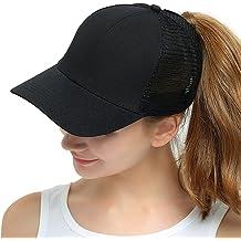 48a7973ef4645 Womens Ponytail Messy High Buns Mesh Trucker Ponycaps Plain Baseball Cap  Dad Hat Adjustable Size,