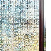 17.5 x 78.7 Inch Anti UV Heat Control Static Cling Privacy Window Film Decorative Removable Window Tint Sun Blocking Silver Rhodesy One Way Window Film