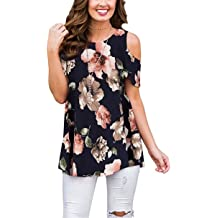 1db1388096c4 Luranee Womens Cold Shoulder Shirts Short Sleeve Crew Neck Floral Tunic Tops