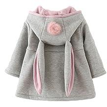 621c2763e Urtrend Baby Girl's Toddler Kids Fall Winter Coat Jacket Outerwear Ears  Hood