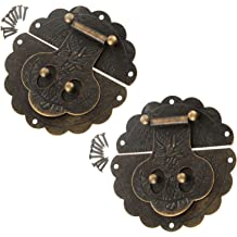 MTMTOOL Antique Bronze Iron Latch hasps Decorative Hasp Jewelry Wooden Box Hasp Latch Lock with Screws Pack of 20
