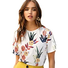4d1df76aad SheIn Women's Casual Round Neck Rose Floral Print Short Sleeve Summer  Tee