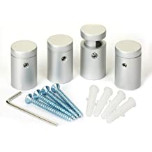 Stainless Steel Standoff 1-1//2 Inch Diameter x 1-1//2 Inch Barrel Length Brushed Finish for PVC Glass and Acrylic Sign Stand Off Wall Anchors and Screws 4 Piece Pack for Heavy Signs