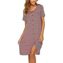 Vlazom Womens Sleep Shirt V Neck Nightgown Oversized Nightdress Short Sleeve Boyfriend Baggy PJ Loungwear Sleepwear S-XXL