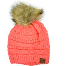 02b66639a0478 Plum Feathers Soft Stretch Cable Knit Ribbed Faux Fur Pom Pom Beanie Hat