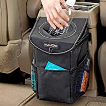 Black Display4top Auto Car Trash Can Bin Waste Container Plastic with lid,Leakproof Vehicle Trash Bin,3L//0.8 Gallon