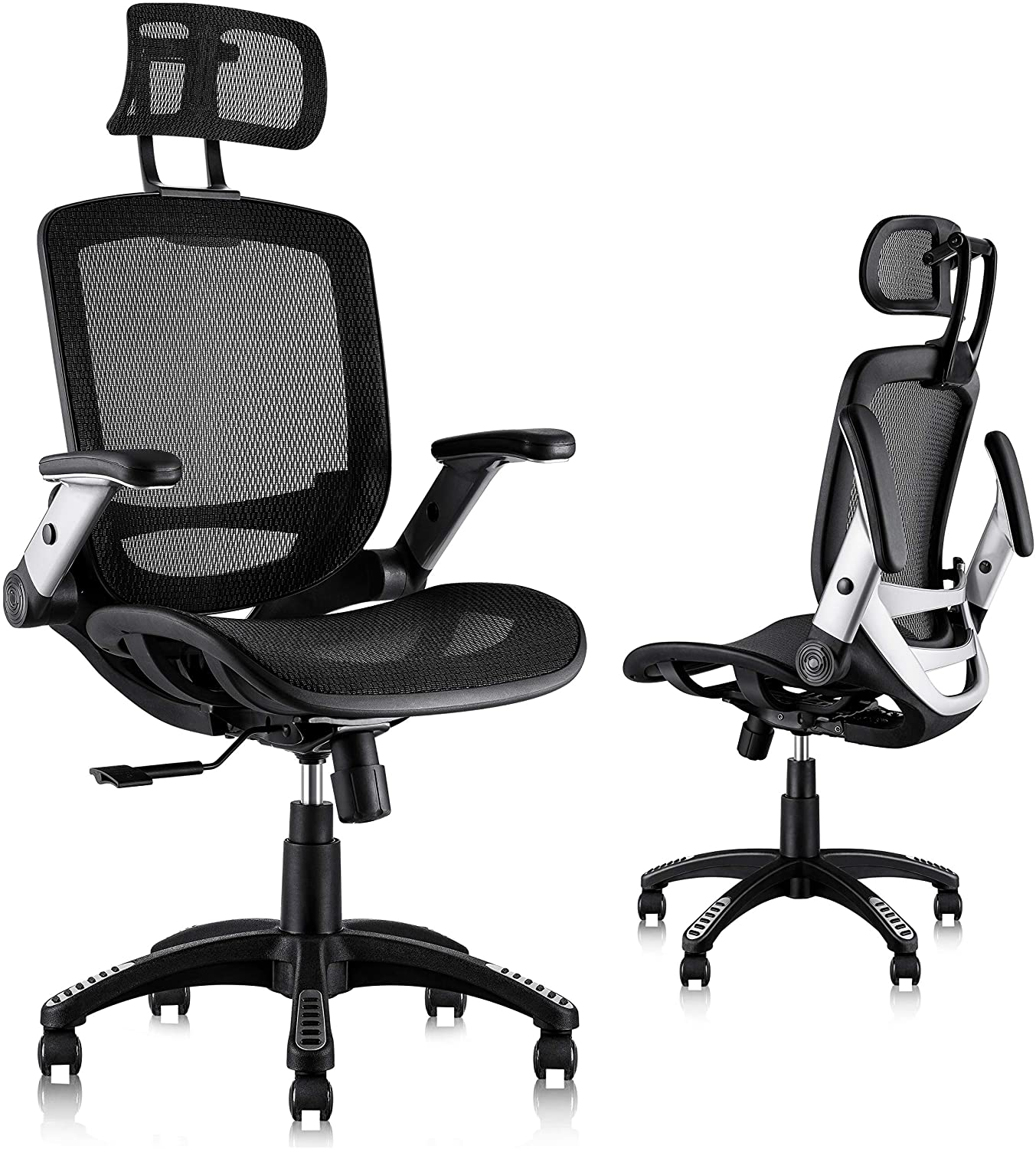 Buy Gabrylly Ergonomic Mesh Office Chair, High Back Desk Chair - Adjustable Headrest with Flip-Up Arms, Tilt Function, Lumbar Support and PU Wheels, Swivel Computer Task Chair Online in India. B08T251K4H