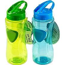 Uniware 7098 BPA Free Glass Water bottle 450 ml,3 Pcs Set,Green//Blue//Pink