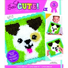SM SunniMix Latch Hook Rug Making Kit with 2pcs Latch Hook Tool for Kids DIY Gifts Lovely Puppies